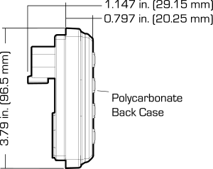 Side Diagram of the PTLOG™ DASH display kit